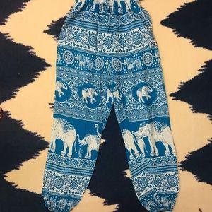 Pants - Blue Nepalese elephant harem pants size S